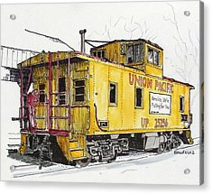 Acrylic Print featuring the painting Sacramento Caboose by Terry Banderas