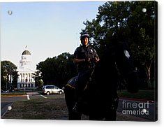 Sacramento Police Mounted Association Horse Patrol At The California State Capitol . Spma . 7d11785 Acrylic Print by Wingsdomain Art and Photography
