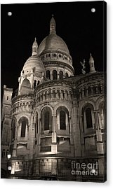 Sacre Coeur By Night Vii Acrylic Print by Fabrizio Ruggeri