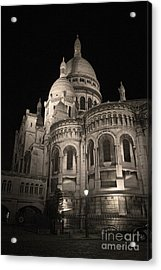 Sacre Coeur By Night Viii Acrylic Print by Fabrizio Ruggeri