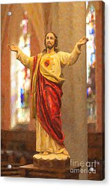 Sacred Heart Of Jesus Acrylic Print by Clarence Holmes