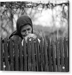 Sad Peasant At The Fence Acrylic Print