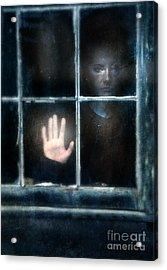 Sad Person Looking Out Window Acrylic Print by Jill Battaglia