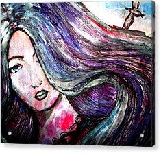Sad Woman Eyes Acrylic Print by Vesna Disic