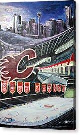 Saddledome- Calgary Flames Acrylic Print by Chris Ripley