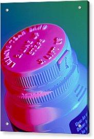 Safety Cap On A Medicine Bottle Acrylic Print by Steve Horrell