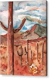 Acrylic Print featuring the painting Saguaro Cactus by Sharon Mick