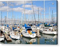 Sail Boats At San Francisco China Basin Pier 42 With The Bay Bridge In The Background . 7d7666 Acrylic Print by Wingsdomain Art and Photography