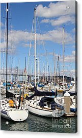 Sail Boats At San Francisco China Basin Pier 42 With The Bay Bridge In The Background . 7d7685 Acrylic Print by Wingsdomain Art and Photography
