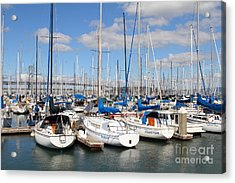 Sail Boats At San Francisco China Basin Pier 42 With The Bay Bridge In The Background . 7d7688 Acrylic Print by Wingsdomain Art and Photography