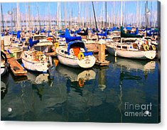 Sail Boats At San Francisco's Pier 42 . Dark Version Acrylic Print by Wingsdomain Art and Photography