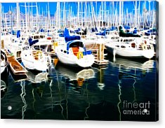 Sail Boats At San Francisco's Pier 42 . Electrified Acrylic Print by Wingsdomain Art and Photography