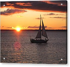 Acrylic Print featuring the photograph Sailboat At Sunset by Karen Molenaar Terrell