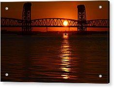 Acrylic Print featuring the photograph Sailboat Bridges Sunset by Maureen E Ritter