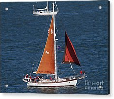 Sailboat In The San Francisco Bay . 7d7881 Acrylic Print by Wingsdomain Art and Photography