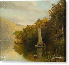 Sailboat On River Acrylic Print by Arthur Quarterly