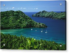 Sailboats Anchored In A Cove Of Blue Acrylic Print by Tim Laman