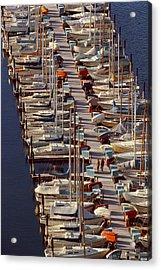 Sailboats At Moorage Acrylic Print by Harald Sund