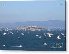 Sailboats In The San Francisco Bay Overlooking Alcatraz . 7d7862 Acrylic Print