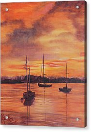 Sailboats In The Sunset Acrylic Print