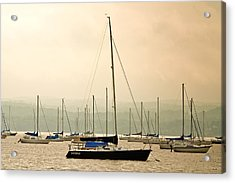 Acrylic Print featuring the photograph Sailboats Moored In The Harbor by Ann Murphy
