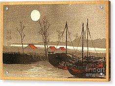 Sailboats Moored Under The Full Moon Acrylic Print