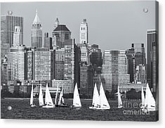 Sailboats On The Hudson V Acrylic Print by Clarence Holmes