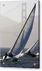Sailboats Race On San Francisco Bay Acrylic Print by Skip Brown