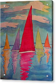 Sailboats Acrylic Print by Yvonne Feavearyear