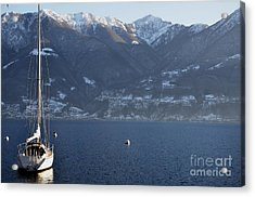 Sailing Boat On A Lake Acrylic Print by Mats Silvan