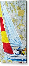 Sailing From The Charts Acrylic Print by Michael Lee