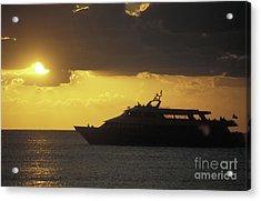 Sailing Into The Sun Cozumel Mexico Acrylic Print by John  Mitchell