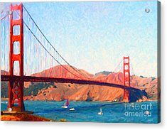 Sailing Under The Golden Gate Bridge Acrylic Print by Wingsdomain Art and Photography