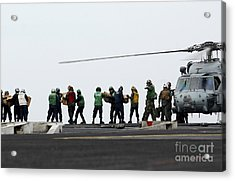 Sailors And Marines Load Supplies Onto Acrylic Print by Stocktrek Images