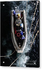 Sailors Conduct A Man Overboard Drill Acrylic Print by Stocktrek Images