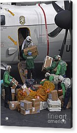 Sailors Load Mail On To A C-2a Acrylic Print by Stocktrek Images