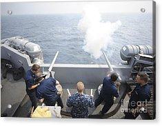 Sailors Perform A 21-gun Salute Aboard Acrylic Print by Stocktrek Images