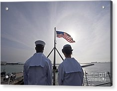 Sailors Stand By To Lower The Ensign Acrylic Print by Stocktrek Images