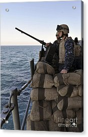 Sailors Stand Small Caliber Attack Team Acrylic Print by Stocktrek Images