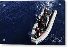 Sailors Stand Watch On A Rigid-hull Acrylic Print by Stocktrek Images