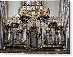 Saint Barbara Church - Organ Loft And Stained Glass In The Churc Acrylic Print by Michal Boubin