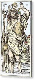 Saint Christopher Carrying Christ Child Acrylic Print by Sheila Terry