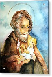 Saint Joseph And Child Acrylic Print by Myrna Migala