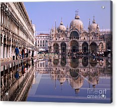 Saint Mark Square Under Water Acrylic Print by Serge Fourletoff