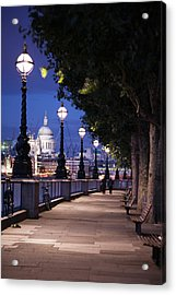 Saint Paul's Cathedral As Seen From The Queen's Walk Along The Thames River In London.  2007. Acrylic Print by Uyen Le