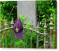 Acrylic Print featuring the photograph Saints Hat On Iron Fence by Jeanne  Woods