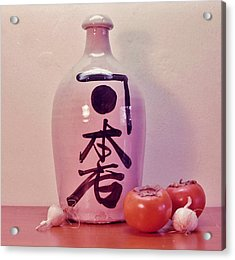 Acrylic Print featuring the photograph Sake Jug With Persimmon And Garlic by Craig Wood