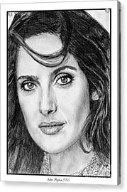 Acrylic Print featuring the drawing Salma Hayek In 2005 by J McCombie