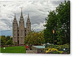 Salt Lake City Temple Grounds Acrylic Print by La Rae  Roberts