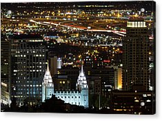 Salt Lake Temple Acrylic Print by Photo by Jim Boud